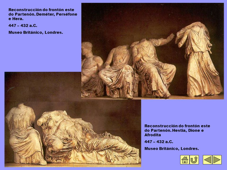 Reconstrucción do frontón este do Partenón. Deméter, Perséfone e Hera.