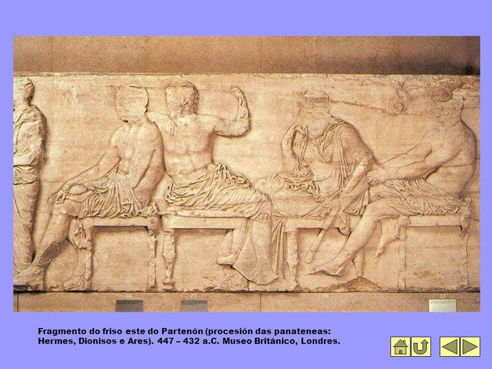 Fragmento do friso este do Partenón (procesión das panateneas: Hermes, Dionisos e Ares).