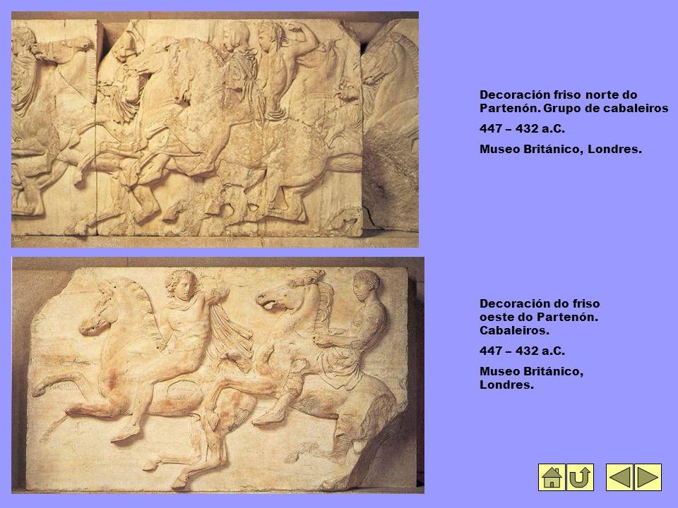 Decoración friso norte do Partenón. Grupo de cabaleiros 447 – 432 a.C.