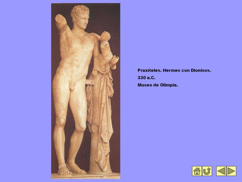Praxíteles. Hermes con Dionisos. 330 a.C. Museo de Olimpia.