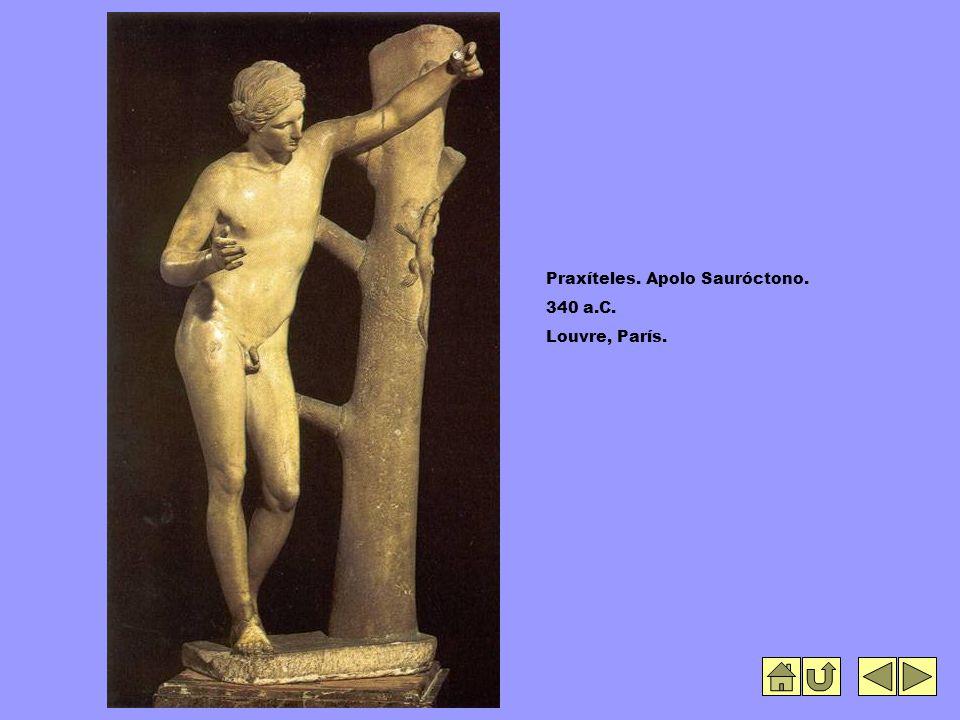 Praxíteles. Apolo Sauróctono. 340 a.C. Louvre, París.