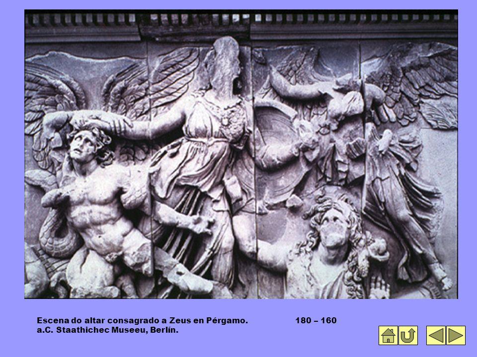 Escena do altar consagrado a Zeus en Pérgamo. 180 – 160 a.C. Staathichec Museeu, Berlín.
