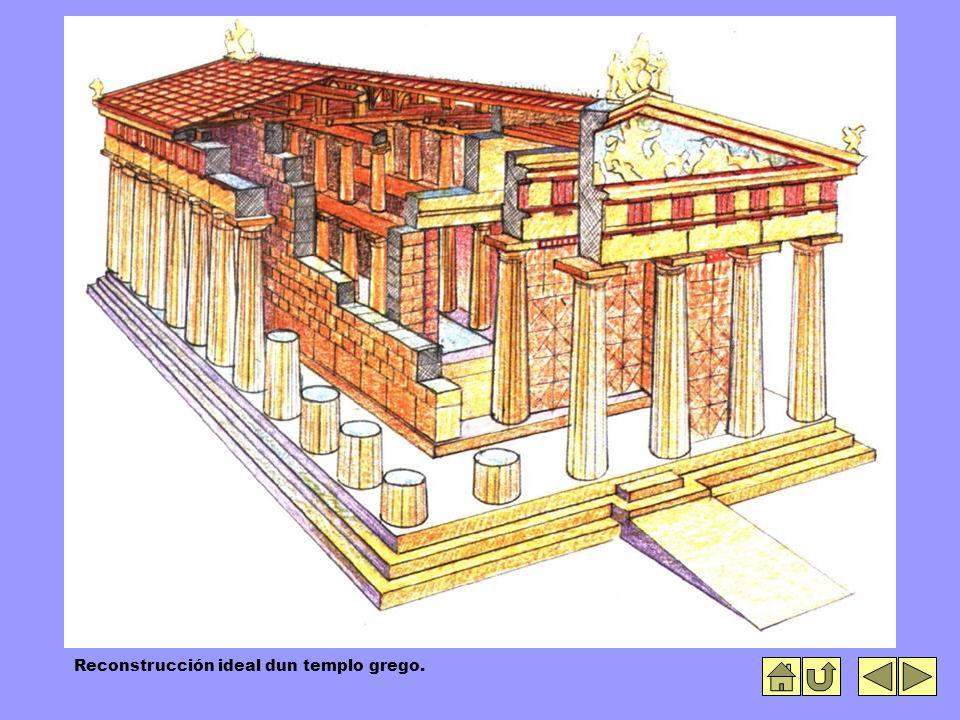 Reconstrucción ideal dun templo grego.