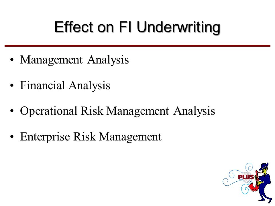 Effect on FI Underwriting Management Analysis Financial Analysis Operational Risk Management Analysis Enterprise Risk Management