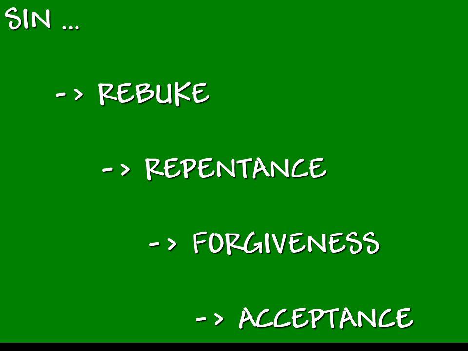 SIN … -> REBUKE -> REPENTANCE -> FORGIVENESS -> ACCEPTANCE