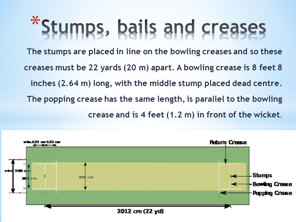 The stumps are placed in line on the bowling creases and so these creases must be 22 yards (20 m) apart.
