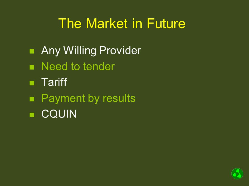 The Market in Future Any Willing Provider Need to tender Tariff Payment by results CQUIN