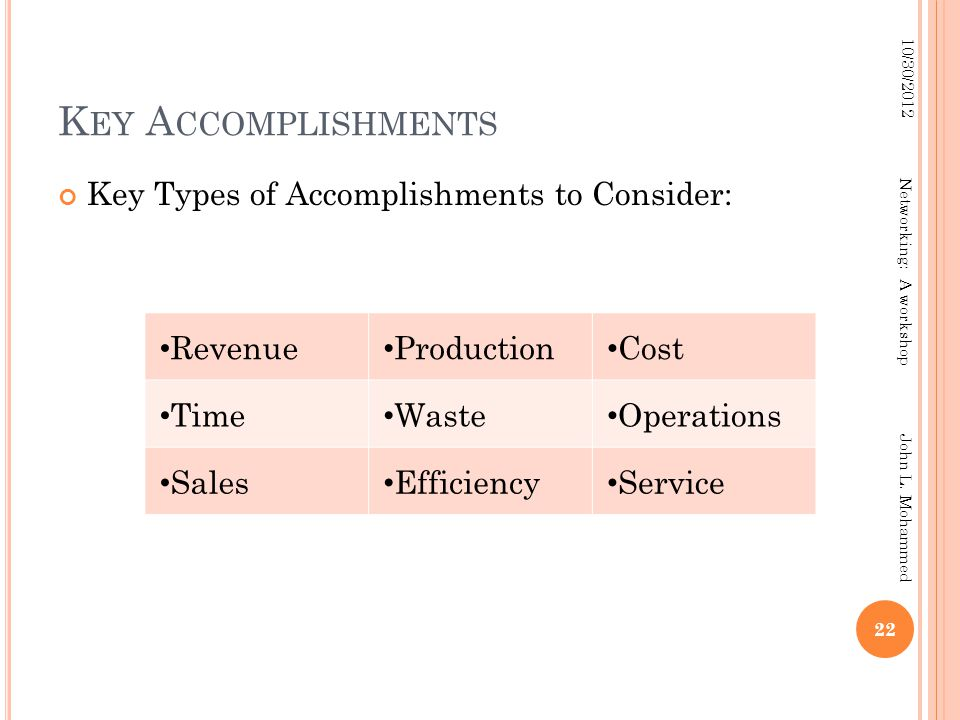 K EY A CCOMPLISHMENTS Key Types of Accomplishments to Consider: 22 10/30/2012 Networking: A workshop John L.