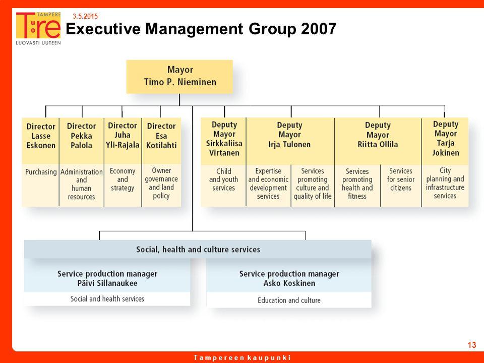 T a m p e r e e n k a u p u n k i 3.5.2015 13 Executive Management Group 2007