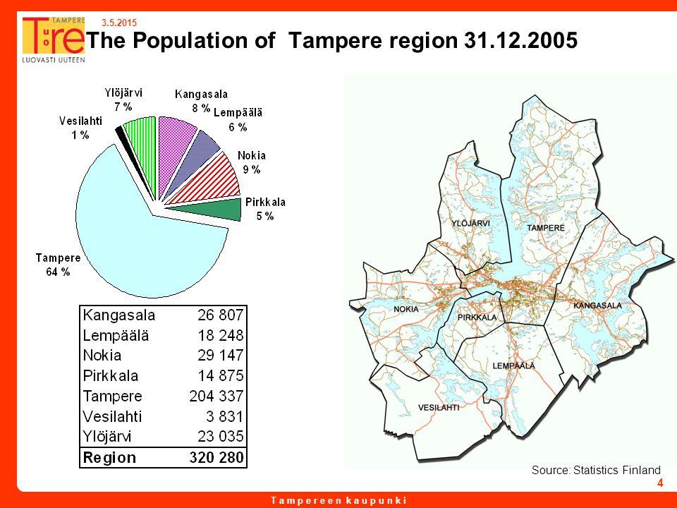 T a m p e r e e n k a u p u n k i 3.5.2015 4 The Population of Tampere region 31.12.2005 Source: Statistics Finland
