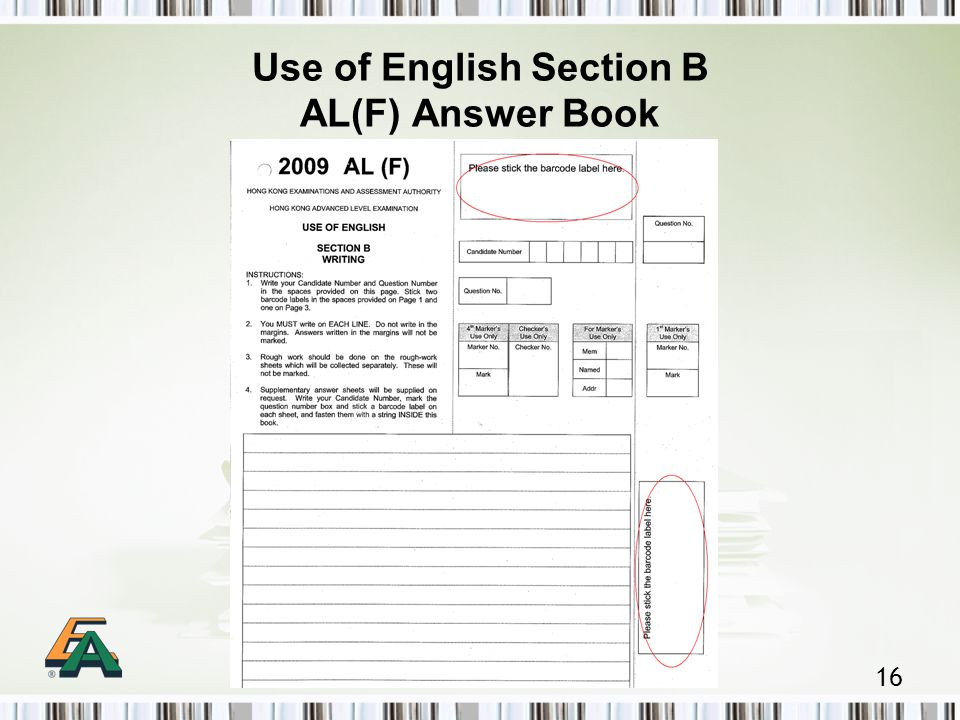 16 Use of English Section B AL(F) Answer Book