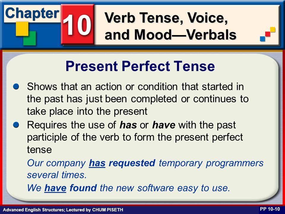 Business English at Work Verb Tense, Voice, and Mood—Verbals Shows that an action or condition that started in the past has just been completed or con