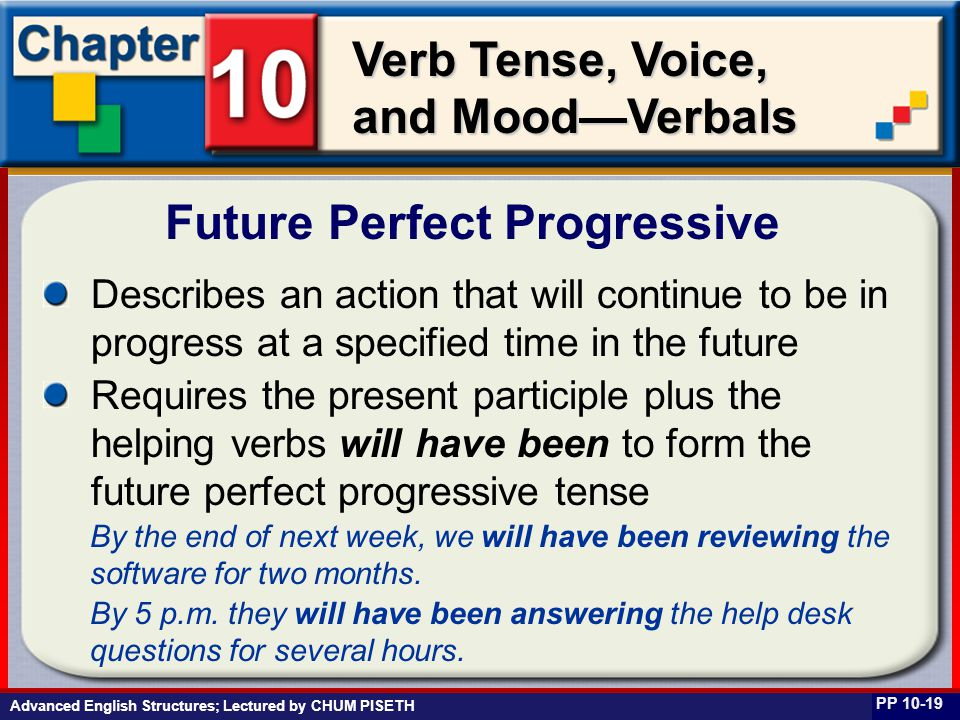 Business English at Work Verb Tense, Voice, and Mood—Verbals Describes an action that will continue to be in progress at a specified time in the futur
