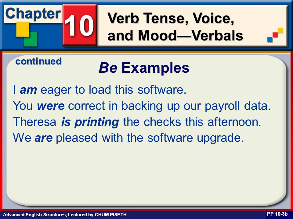 Business English at Work Verb Tense, Voice, and Mood—Verbals I am eager to load this software. You were correct in backing up our payroll data. Theres