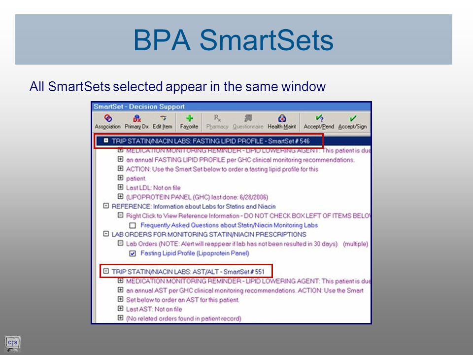 All SmartSets selected appear in the same window BPA SmartSets
