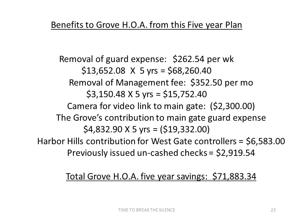 TIME TO BREAK THE SILENCE23 Benefits to Grove H.O.A.
