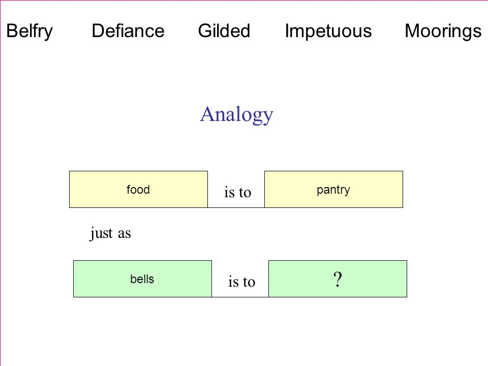 Analogy food is to pantry bells is to just as Belfry Defiance Gilded Impetuous Moorings
