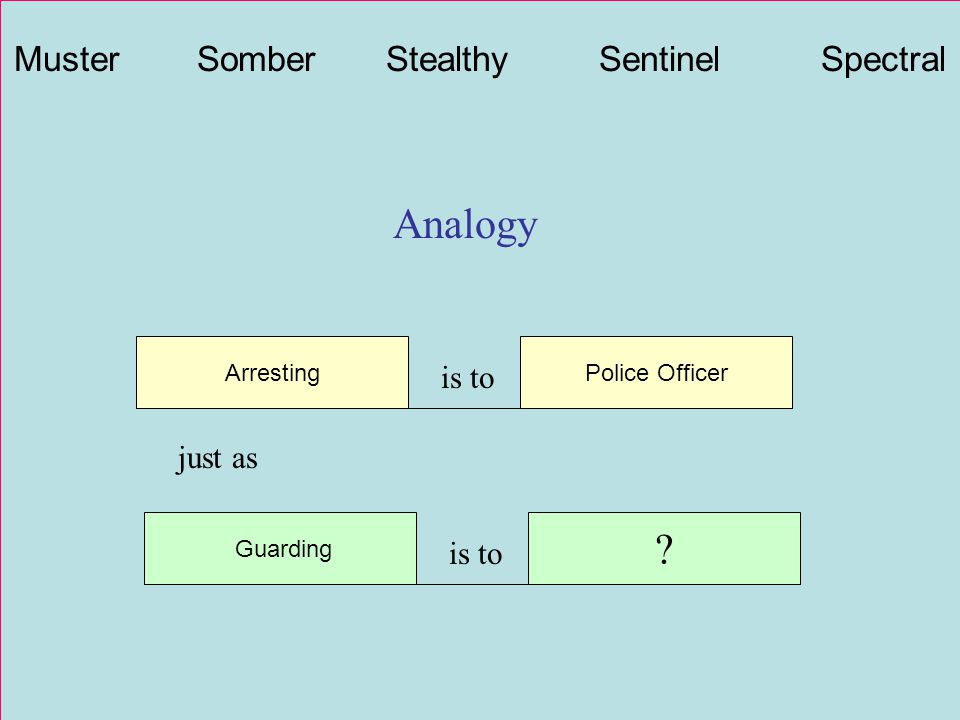 Analogy Arresting is to Police Officer Guarding is to ? just as Muster Somber Stealthy Sentinel Spectral