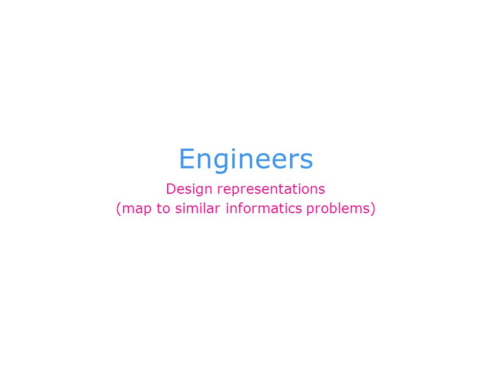 Engineers Design representations (map to similar informatics problems)