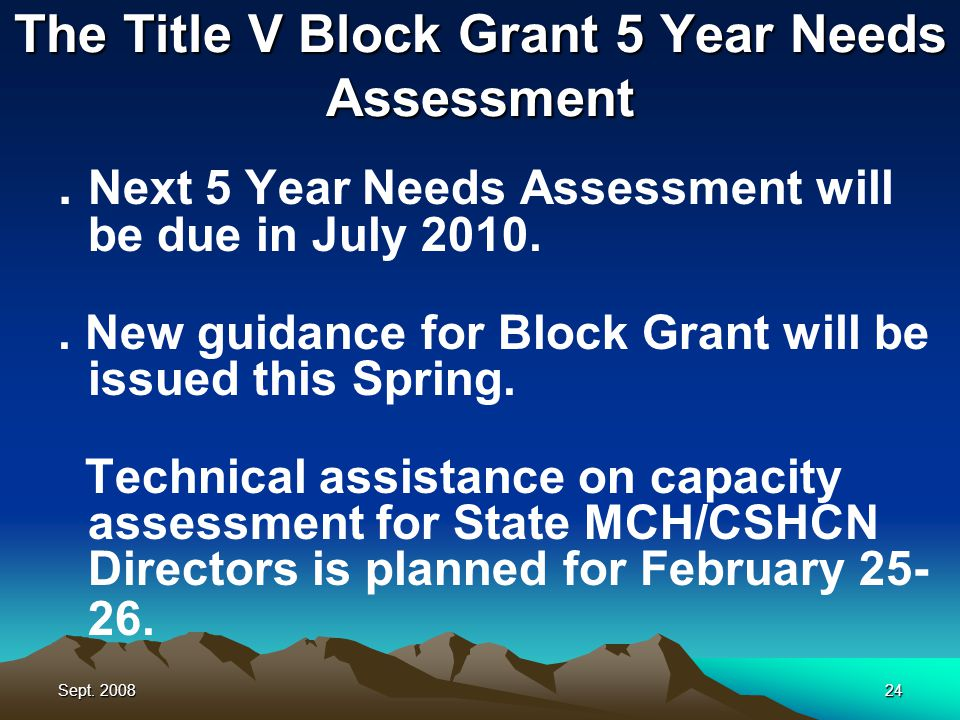 Sept. 200824 The Title V Block Grant 5 Year Needs Assessment.