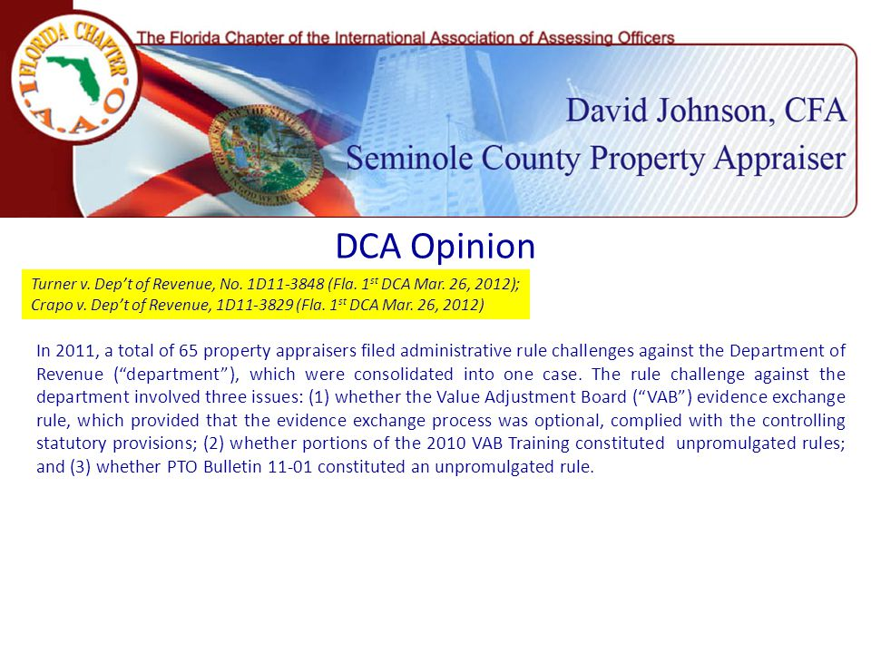 DCA Opinion Turner v. Dep't of Revenue, No. 1D11-3848 (Fla.