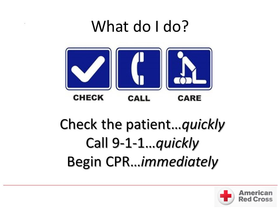 What do I do Check the patient…quickly Call 9-1-1…quickly Begin CPR…immediately