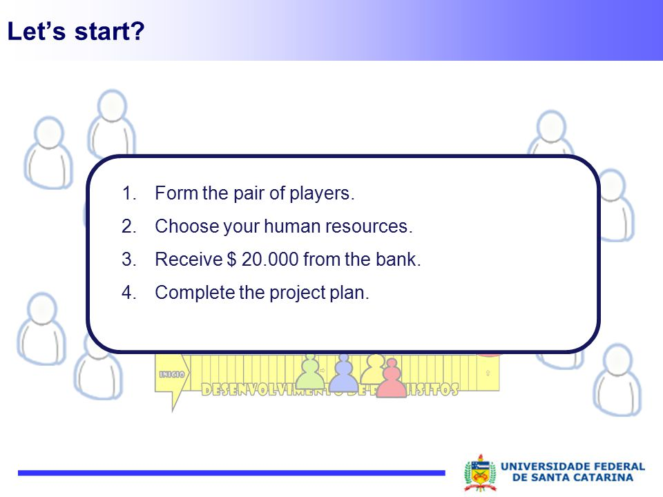 Let's start? 1.Form the pair of players. 2.Choose your human resources. 3.Receive $ 20.000 from the bank. 4.Complete the project plan.