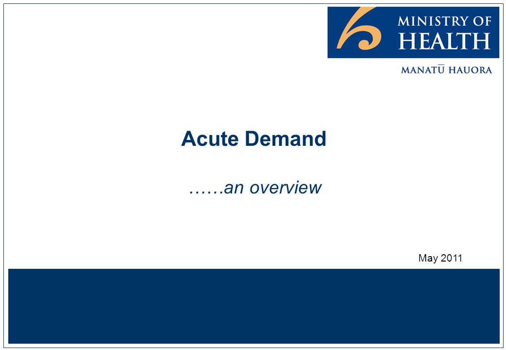 Acute Demand ……an overview May 2011