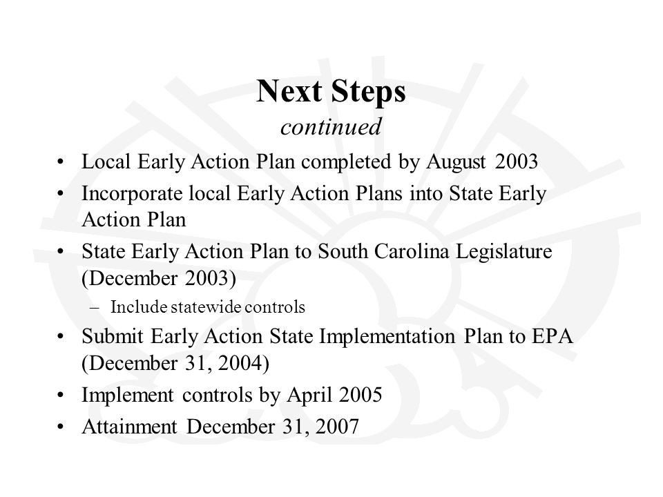 Next Steps continued Local Early Action Plan completed by August 2003 Incorporate local Early Action Plans into State Early Action Plan State Early Ac