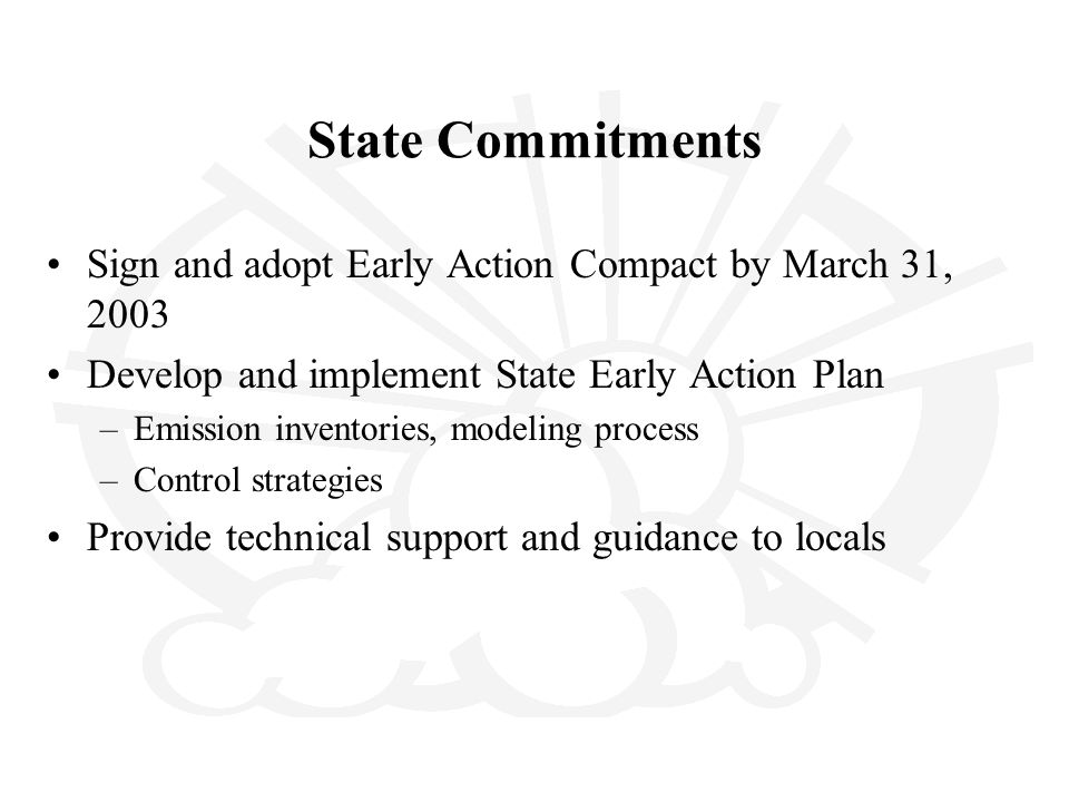 State Commitments Sign and adopt Early Action Compact by March 31, 2003 Develop and implement State Early Action Plan –Emission inventories, modeling process –Control strategies Provide technical support and guidance to locals