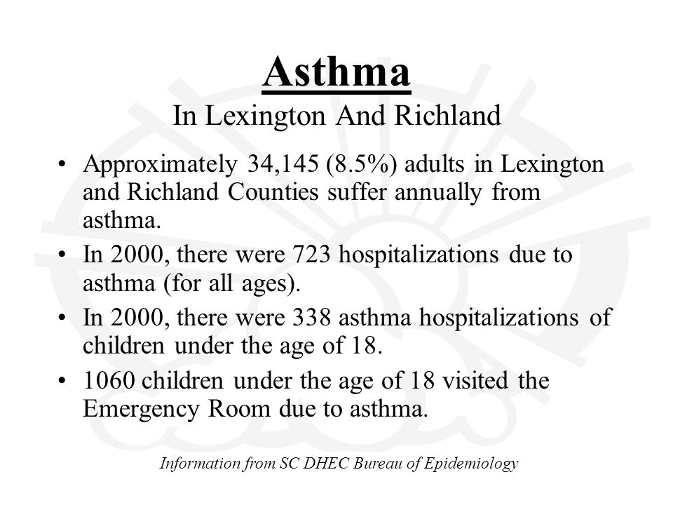 Asthma In Lexington And Richland Approximately 34,145 (8.5%) adults in Lexington and Richland Counties suffer annually from asthma.