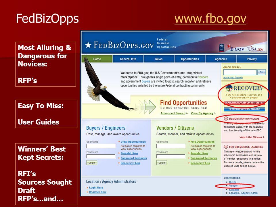 FedBizOpps www.fbo.govwww.fbo.gov Most Alluring & Dangerous for Novices: RFP's Winners' Best Kept Secrets: RFI's Sources Sought Draft RFP's…and… Easy