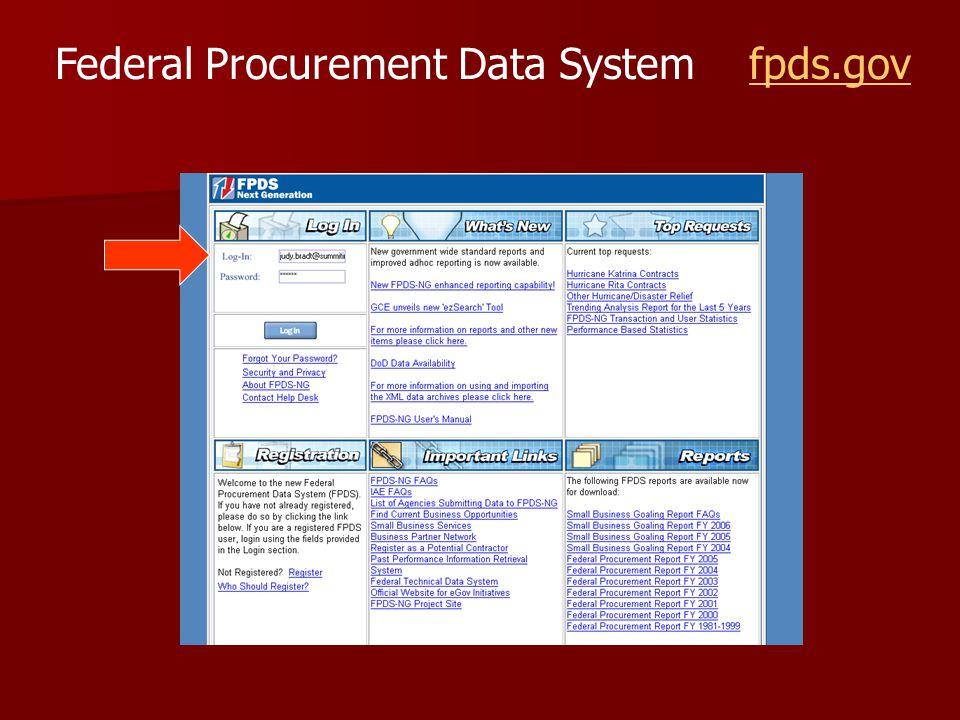 Federal Procurement Data System fpds.govfpds.gov