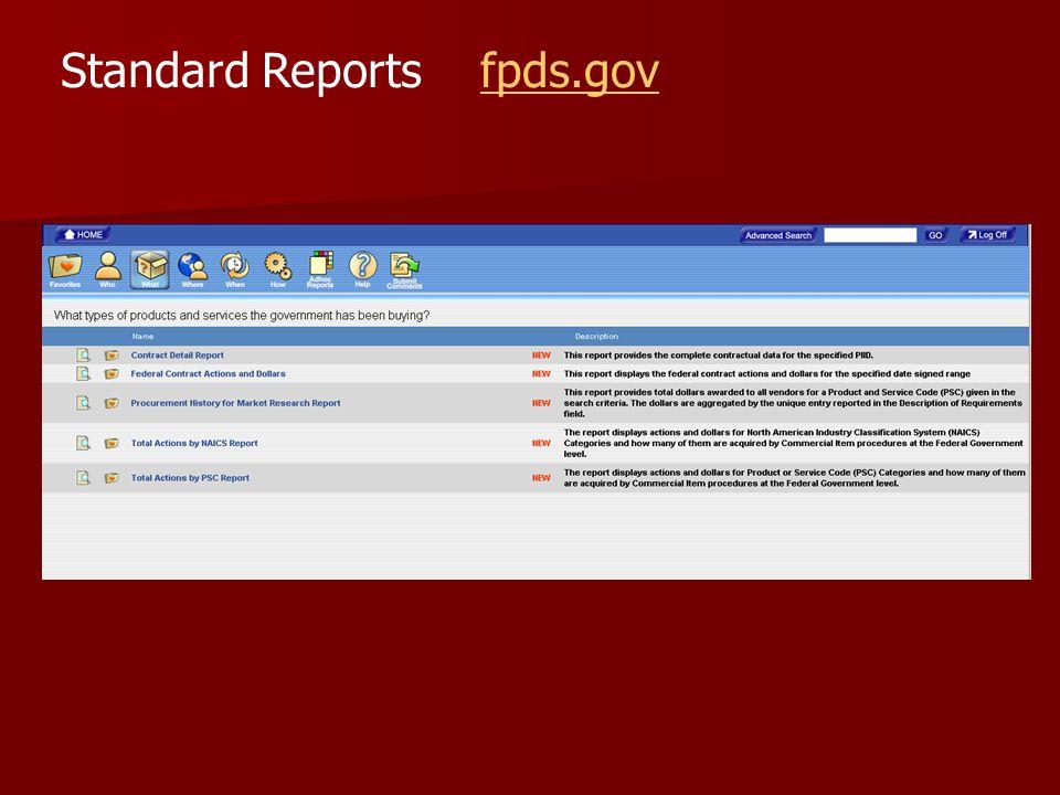 Standard Reports fpds.govfpds.gov