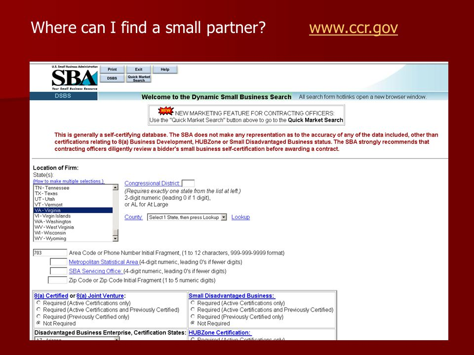Where can I find a small partner? www.ccr.govwww.ccr.gov