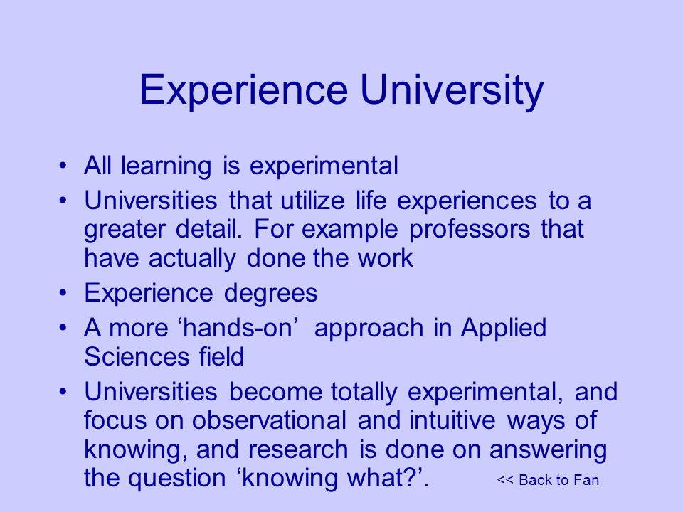 << Back to Fan Experience University All learning is experimental Universities that utilize life experiences to a greater detail.
