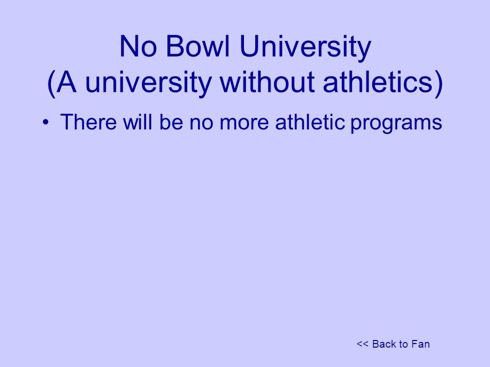 << Back to Fan No Bowl University (A university without athletics) There will be no more athletic programs