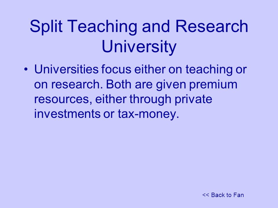<< Back to Fan Split Teaching and Research University Universities focus either on teaching or on research.