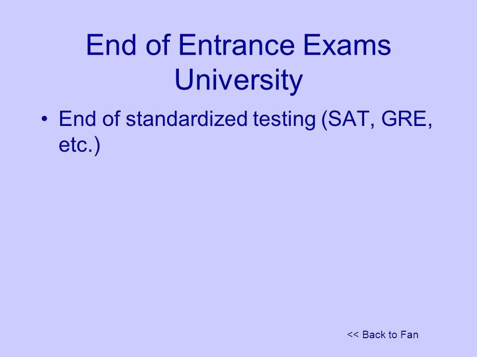 << Back to Fan End of Entrance Exams University End of standardized testing (SAT, GRE, etc.)
