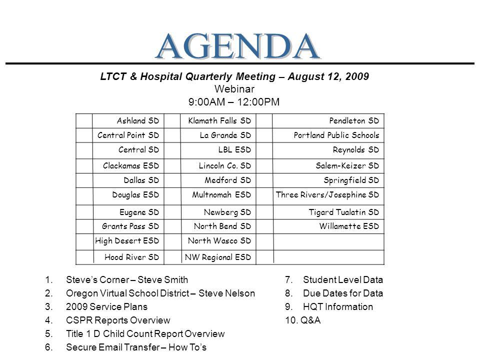 LTCT & Hospital Quarterly Meeting – August 12, 2009 Webinar 9:00AM – 12:00PM 1.Steve's Corner – Steve Smith7.