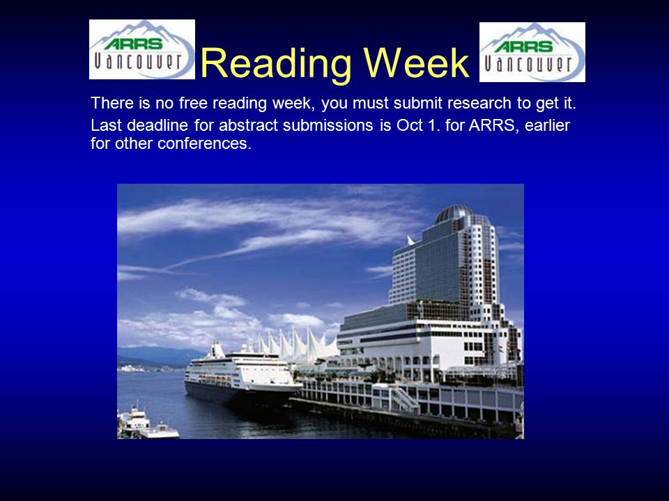 Reading Week There is no free reading week, you must submit research to get it. Last deadline for abstract submissions is Oct 1. for ARRS, earlier for