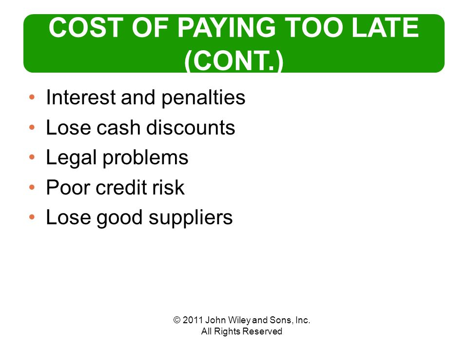 © 2011 John Wiley and Sons, Inc.All Rights Reserved WHAT IS THE BEST PAYMENT POLICY.