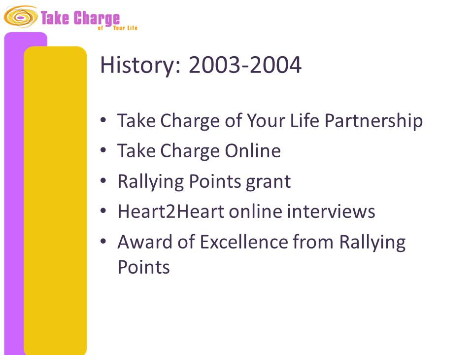 History: 2003-2004 Take Charge of Your Life Partnership Take Charge Online Rallying Points grant Heart2Heart online interviews Award of Excellence fro