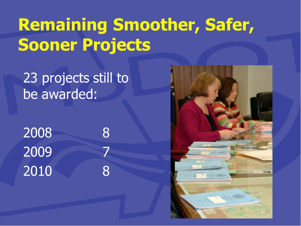 Remaining Smoother, Safer, Sooner Projects 23 projects still to be awarded: 2008 8 2009 7 2010 8