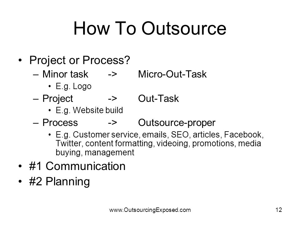 www.OutsourcingExposed.com12 How To Outsource Project or Process.