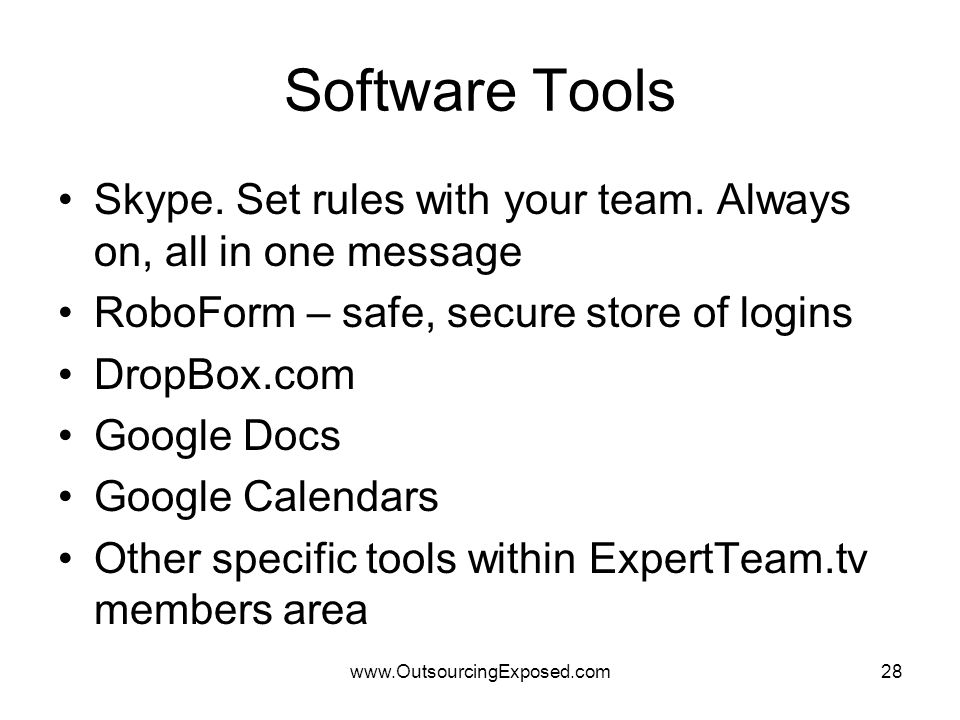 www.OutsourcingExposed.com28 Software Tools Skype.