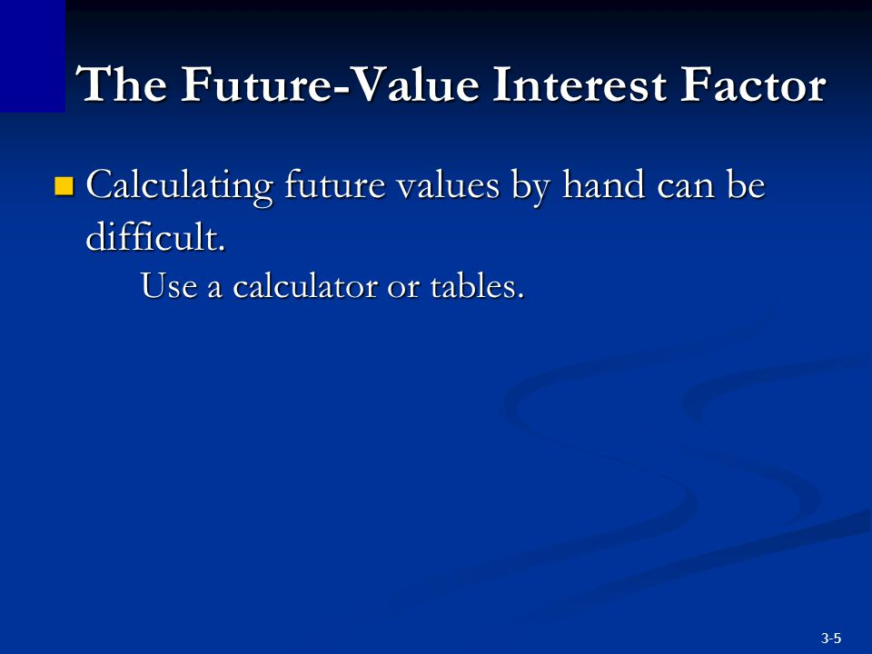 3-6 The Future-Value Interest Factor The amounts in the table represent the value of $1 compounded at rate of i at the end of nth year.