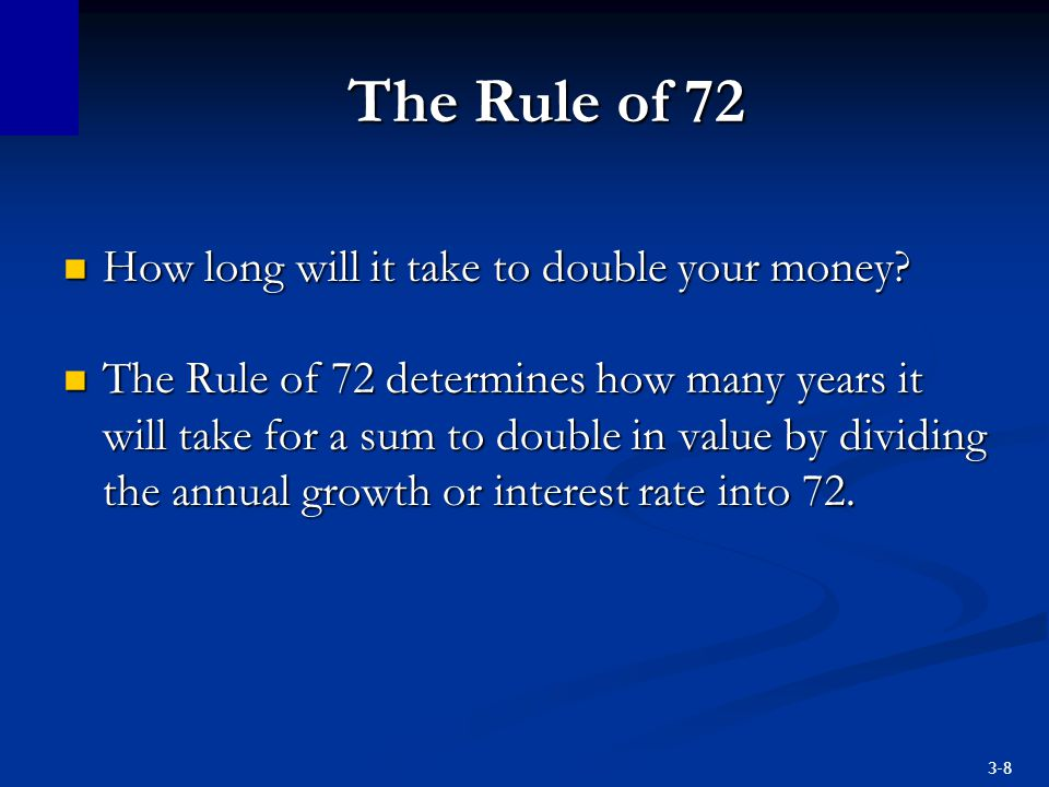 3-9 The Rule of 72 Example: If an investment grows at an annual rate of 9% per year, then it should take 72/9 = 8 years to double.