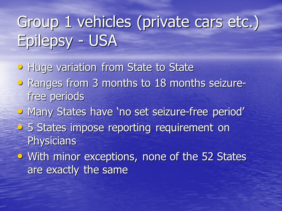 Epilepsy and Driving Reasons why PWE are excluded from or unfairly limited in driving privileges Fear / Stigma / Cultural / Religious Fear / Stigma / Cultural / Religious Adherence / Compliance problems Adherence / Compliance problems Economic Reasons Economic Reasons Doctor reporting issues with Authorities Doctor reporting issues with Authorities Lack of representation for PWE Lack of representation for PWE
