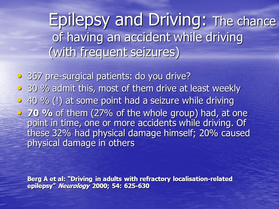 Epilepsy and Driving in Europe Schmedding et al Recommendations Group 2 Final report; 3 April 2005 32 Final report; 3 April 2005 32 Table 9 Proposed guidelines for GROUP 2 Table 9 Proposed guidelines for GROUP 2 Clinical situation Advise Clinical situation Advise General conditions for all Group 2 drivers The applicant should be without anti-epileptic medication for the required period of seizure freedom; General conditions for all Group 2 drivers The applicant should be without anti-epileptic medication for the required period of seizure freedom; There has been a appropriate medical follow-up; There has been a appropriate medical follow-up; On extensive neurological investigation no relevant cerebral pathology has been established and there is no epileptiform activity on the EEG.